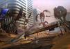 Szene aus Shin Megami Tensei 5: Geflügelte Dämonen greifen im zerstörten Tokio zwei Personen am Boden an.