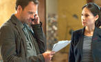 Jonny Lee Miller als Sherlock Holmes un Lucy Liu als Dr. Joan Watson