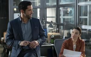"""Lucifer"" - Staffel 4: Lucifer (Tom Ellis) und Chloe Decker (Lauren German)"