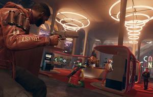 Szene aus Deathloop: Colt greift eine Halle voller Arcade-Maschinen an.