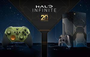 Xbox Elite Wireless 2 Controller und Xbox Series X im Halo-Design zum 20. Jubiläum der Halo-Reihe