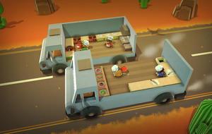 Szene aus Overcooked: Spielfiguren kochen auf zwei fahrenden, offenen Lastwagen und werfen sich Zutaten zu.