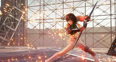 Yuffie aus Final Fantasy 7 Remake Intergrade in Kampfhaltung mit Doppelklinge.