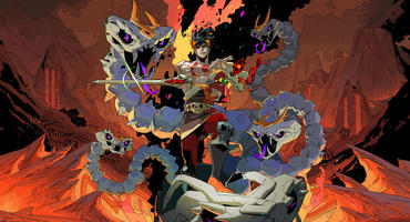Artwork zum Roguelike-Spiel Hades: Zagreus besiegt die Hydra Lernie