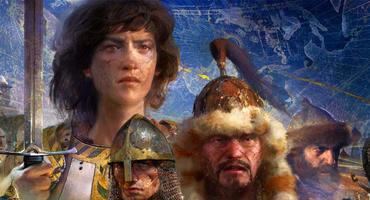 Artwork aus Age of Empires 4 mit verschiedenen historischen Persönlichkeiten.