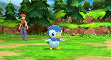 Trainer setzt in Pokémon Strahlender Diamant/Leuchtende Perle das Pinguin-artige Wasser-Pokemon Plinfa ein.