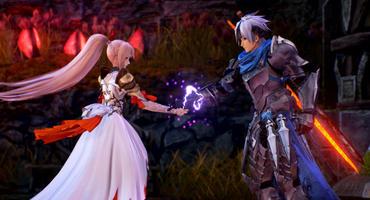 Alphen und Shionne, die Hauptfiguren aus Tales of Arise, reichen sich die Hand