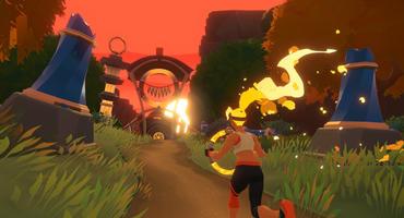Szene aus Ring Fit Adventure für Nintendo Switch: Spielfigur joggt mit Fitness-Ring durch die Welt.