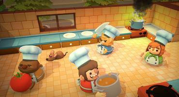 Vier Figuren aus Overcooked in einer Küche. Sie tragen Töpfe, Messer und Kochzutaten.