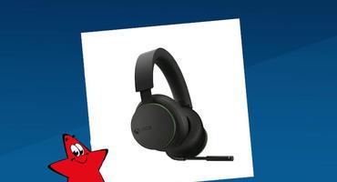 Xbox Wireless Headset. Schwarzes kabelloses Headset mit Kopfhörer und grünen Farbakzenten