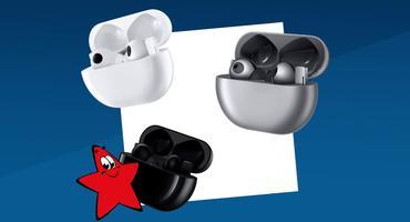 Kabellose Bluetooth-Ohrhörer Huawei Freebuds Pro im Ladecase in drei Farben: weiß, schwarz und silber.