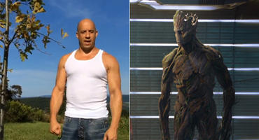 "Vin Diesel und Groot aus ""Guardians of the Galaxy"""
