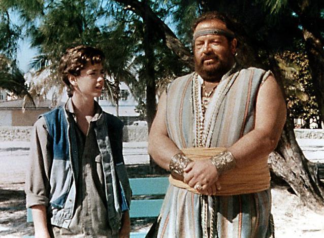 """Italowestern-Star Bud Spencer mit Luca Venantini in """"Aladin""""."""