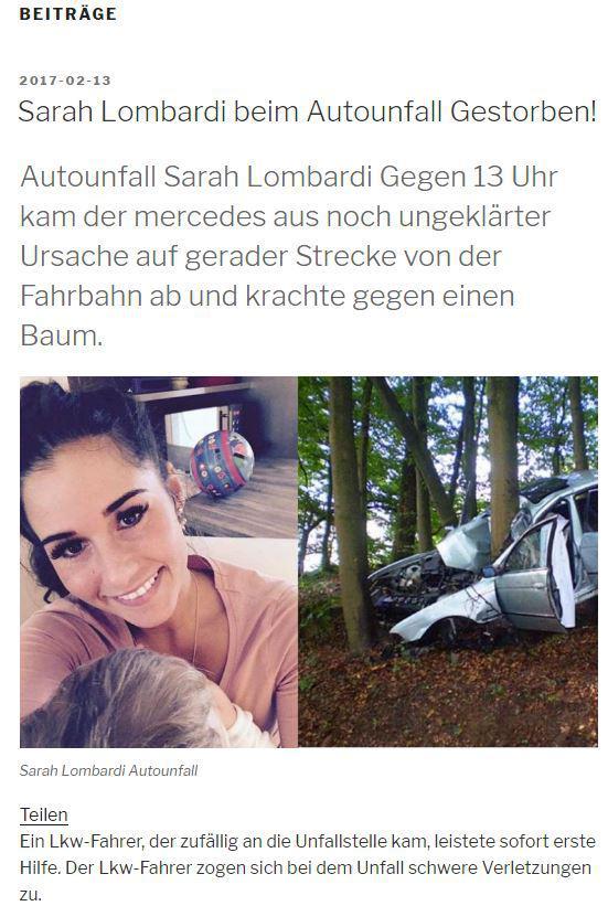 Sarah Lombardi Todesmeldung