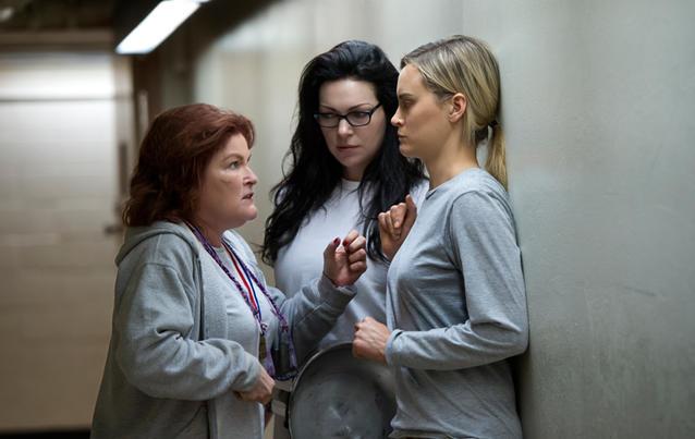 Taylor Schilling (rechts) zieht Parallelen zur Welt außerhalb des Netflix-Universums. Foto: JoJo Whilden/Netflix