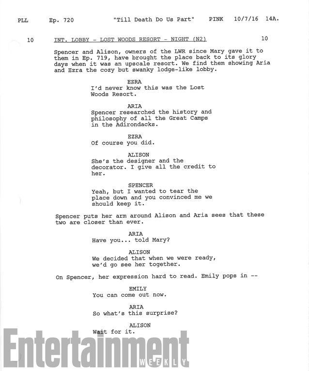 Skript-Ausschnitt der letzten Episode PLL. Foto: Entertainment Weekly via Freeform