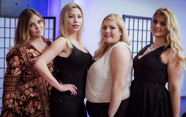 """Christina, Bianca, Svenja und Anastasyia (von links) starten bei """"Curvy Supermodel"""". Foto: RTL2"""