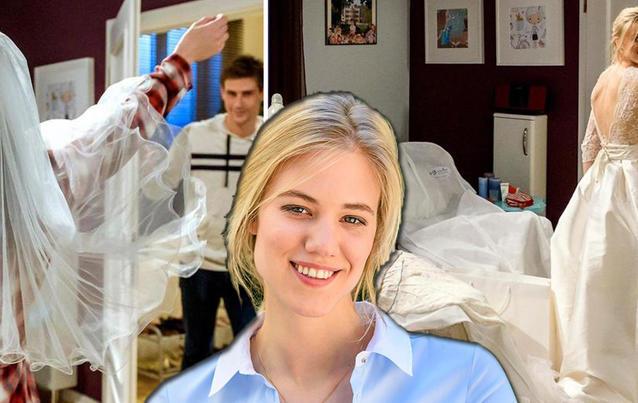 """Alicia (Larissa Marolt) als """"Sturm der Liebe""""-Braut im Hochzeitskleid."""