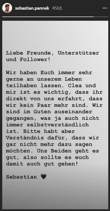 Sebastian Pannek: Trennung