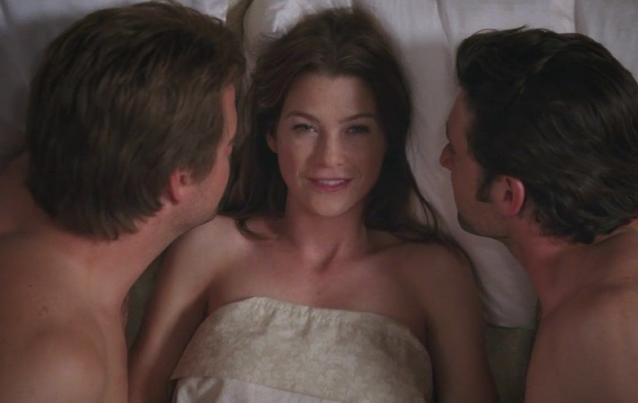 """""""Grey's Anatomy"""": Meredith Grey (Ellen Pompeo), Derek Shepherd (Patrick Dempsey) und Finn (Chris O'Donnell)"""