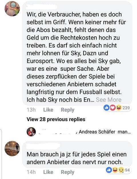 Facebook Kommentare bei DAZN