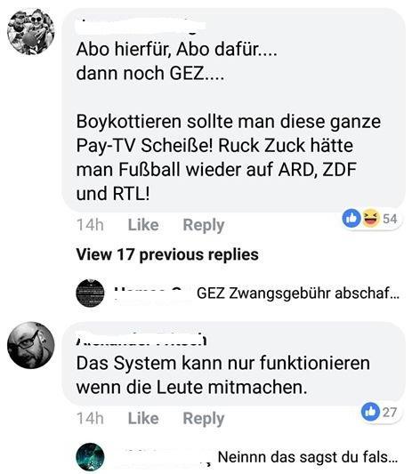 Kommentare bei DAZN FB