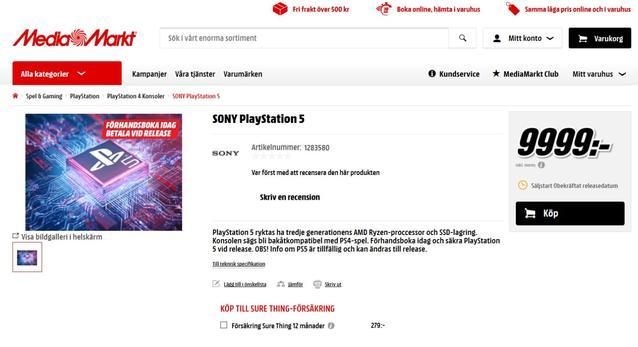 PS5 im Media Markt Schweden