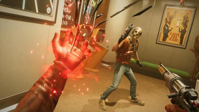 Szene aus Deathloop: Colt setzt eine Fähigkeit gegen einen Gegner ein.