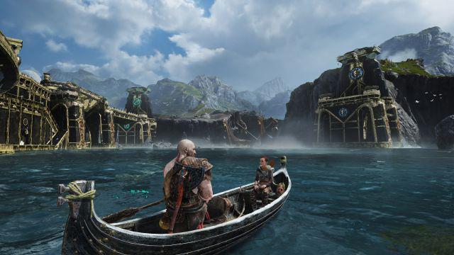 """""""God of War"""" auf PS4 Kratos und Atreus am See"""