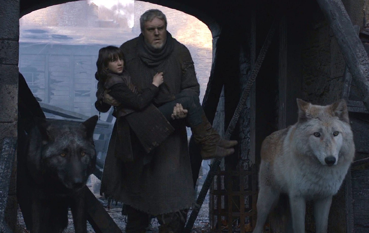 """Game of Thrones"": Hodor/Kristian Nairn und Geist/Ghost/Schattenwolf/Schattenwölfe"
