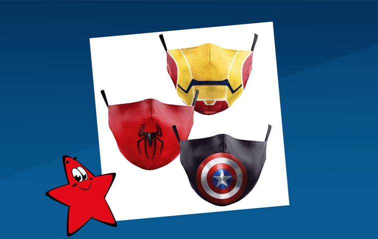 Mundschutze mit Superhelden-Motiven