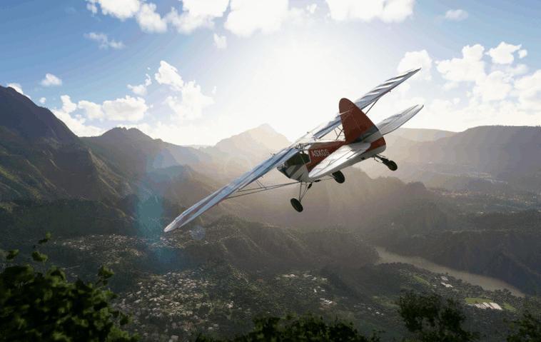 Szene aus Microsoft Flight Simulator: Kleines Flugzeug fliegt über eine Stadt im Gebirge