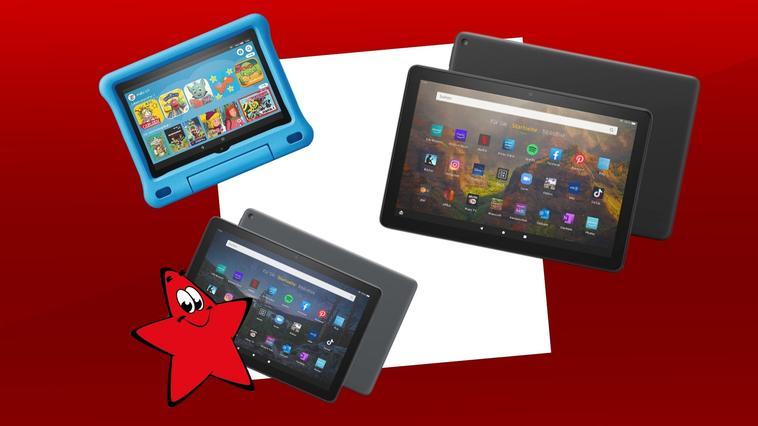Die Amazon-Tablets Fire HD 10, Fire HD 10 Plus und Fire HD 8 Kids (Letzteres in Blau).