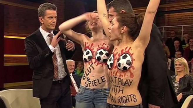 Markus Lanz mit den Femen-Aktivistinnen